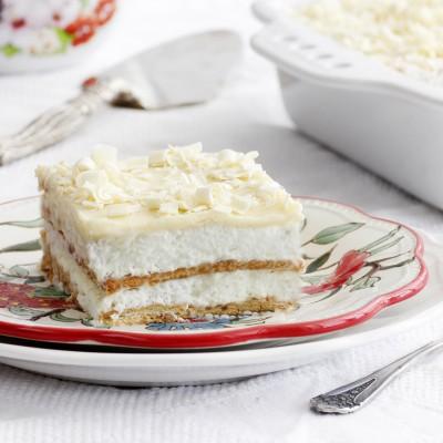עוגת ביסקוויטים עם קרם מסקרפונה וגנאש שוקולד לבן