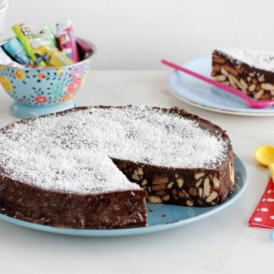 עוגת שוקולד וביסקוויטים ללא אפייה