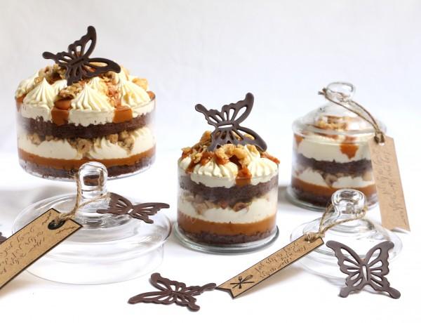 טרייפל שוקולד, מוס שוקולד לבן וקרמל מלוח עם אגוזים מקורמלים