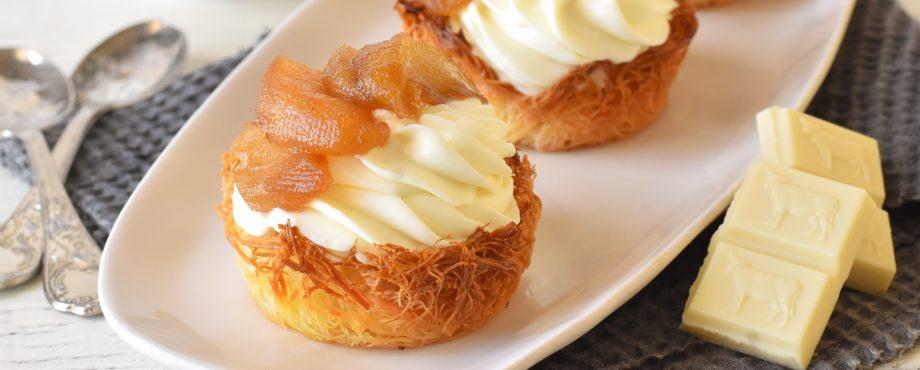 קערות קדאיף במילוי מוס שוקולד לבן ותפוחים מקורמלים